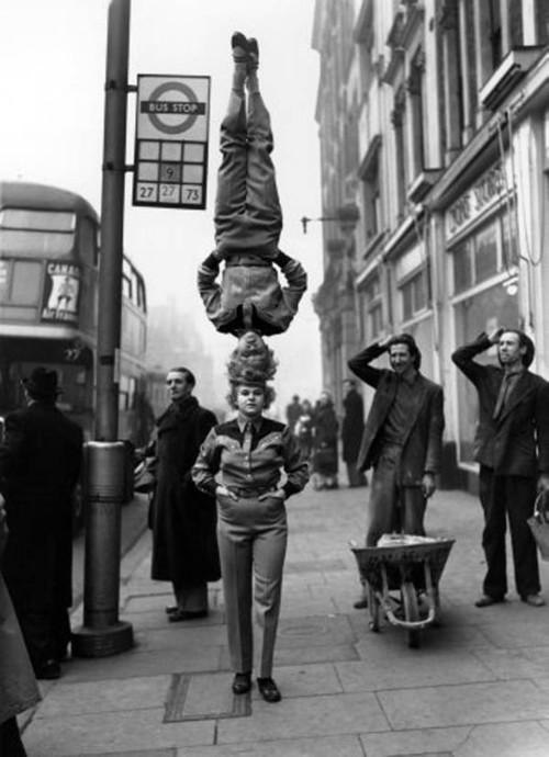 Performers from Bertram Mills Circus in London circa 1953. Image sourced from oldpicsarchive.com