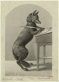 Fox writing with a quill pen (1852)
