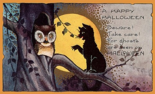 public-domain-vintage-halloween-card-black-cat-and-owl