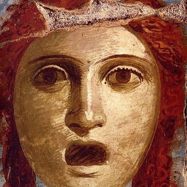 Female theatre mask Roman fresco from Casa del Bracciale d'Oro - Pompeii